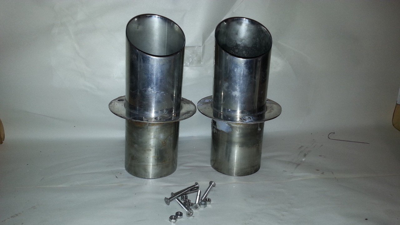 "4"" Slash Cut Stainless Steel Exhaust Ports — USED"