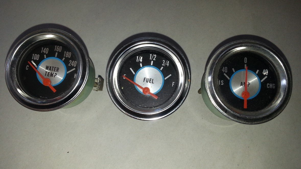 "Vintage Retro Style Teleflex 2-1/16"" Gauge Set — USED"